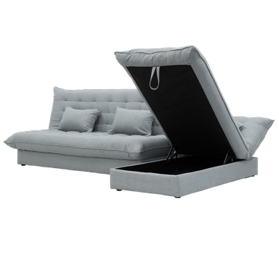 Tessa L Shape Storage Sofa Bed - Silver - Image 2