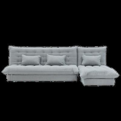 Tessa L Shape Storage Sofa Bed - Silver - Image 1