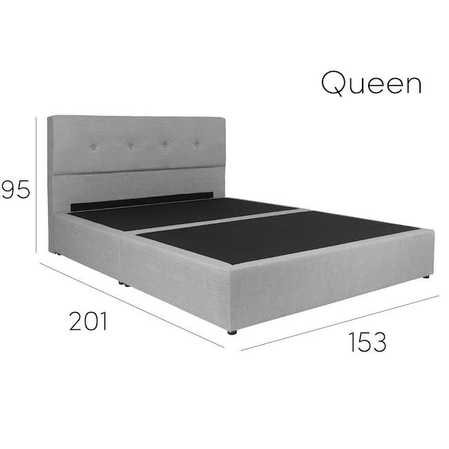 ESSENTIALS Queen Headboard Box Bed - Khaki (Fabric) - 12