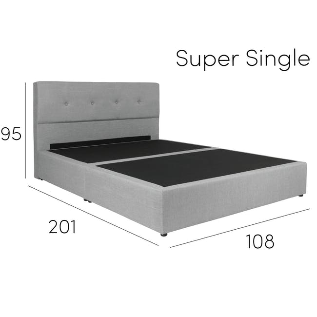 ESSENTIALS Queen Headboard Box Bed - Smoke (Fabric) - 11
