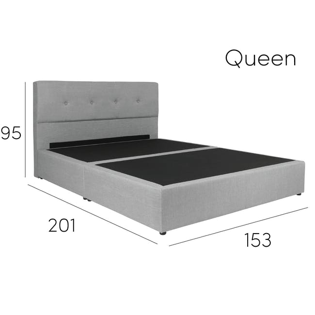 ESSENTIALS Queen Headboard Box Bed - Smoke (Fabric) - 12