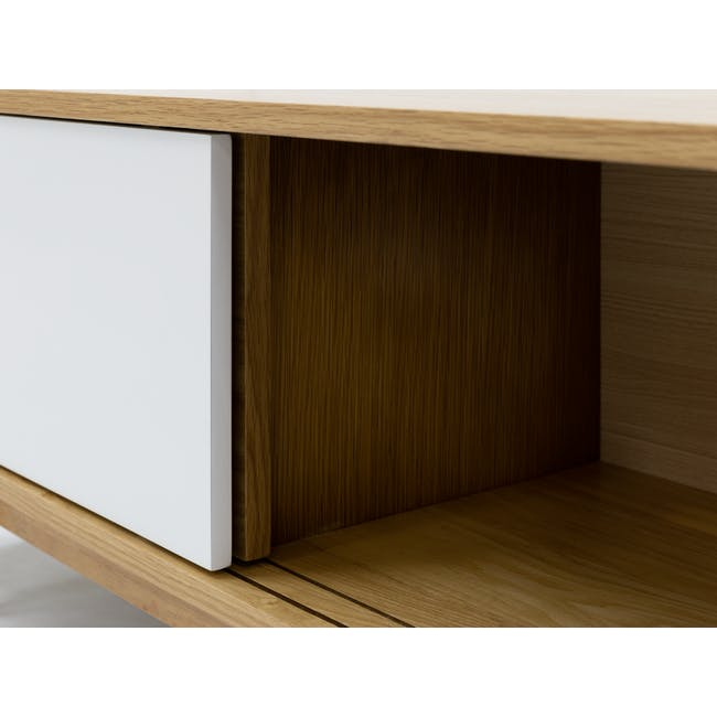 Emelie TV Console 1.6m in Oak, White with Avery Coffee Table in White - 12