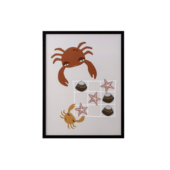 Kids Art Print in Wooden Frame - 32cm by 42 cm -  Tic-Tac-Toe - 1