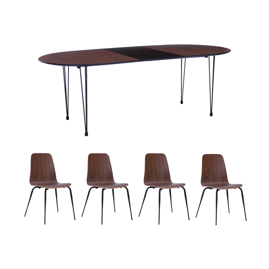 Rikku Extendable Dining Table 1.7m in Walnut, Black with 4 ...