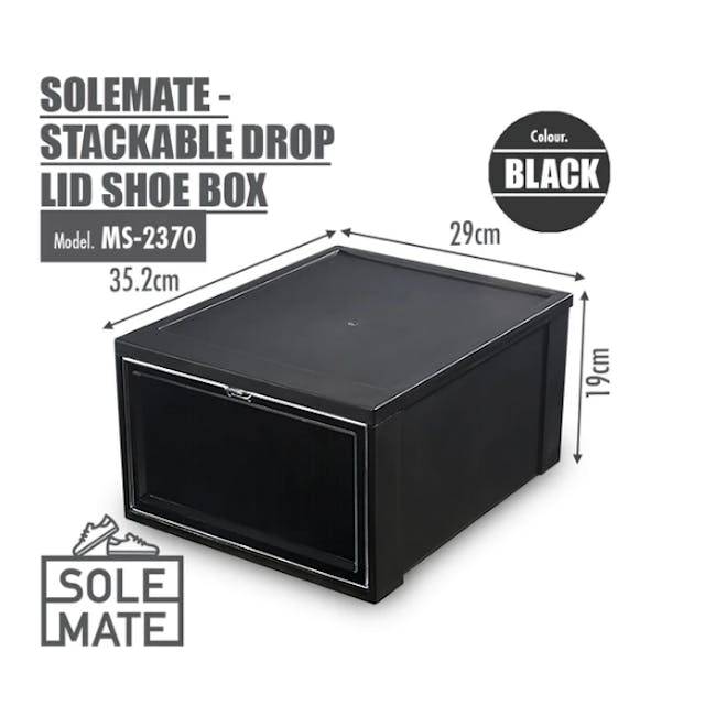 SoleMate Stackable Drop Lid Shoe Box - Black (Pack of 2) - 7