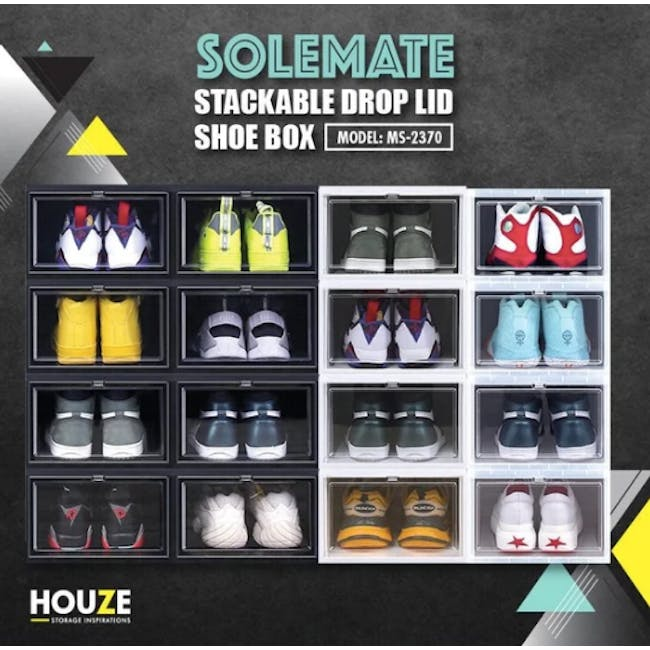 SoleMate Stackable Drop Lid Shoe Box - Black (Pack of 2) - 2