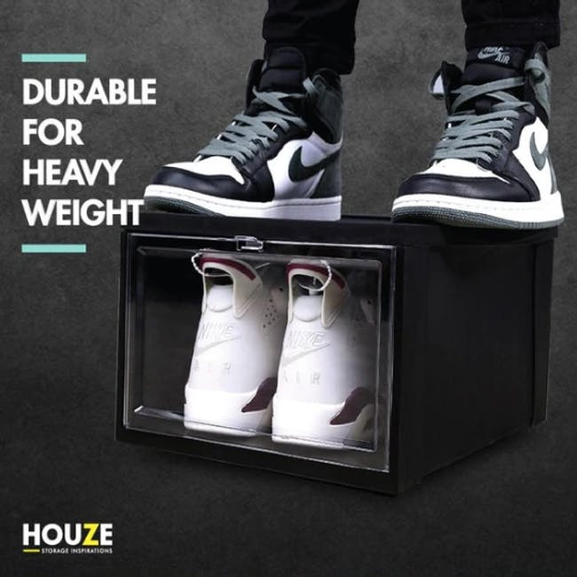SoleMate Stackable Drop Lid Shoe Box - Black (Pack of 2) - 1