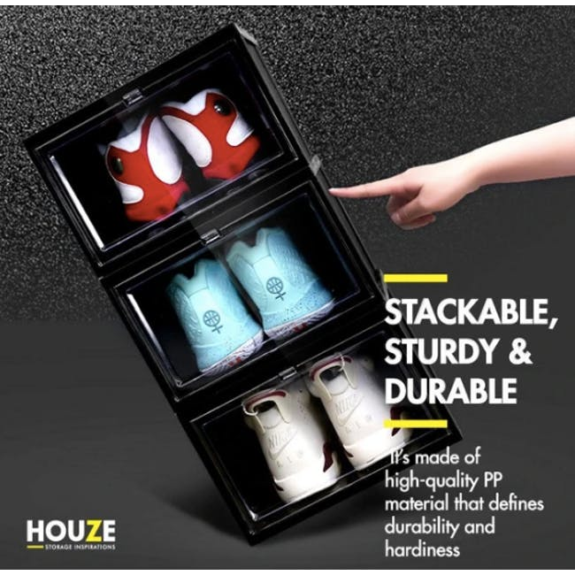 SoleMate Stackable Drop Lid Shoe Box - Black (Pack of 2) - 8