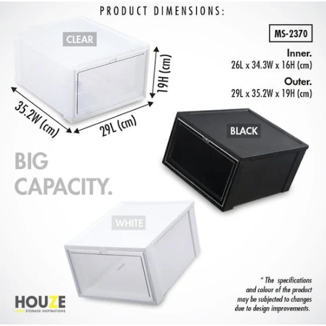 SoleMate Stackable Drop Lid Shoe Box - Black (Pack of 2) - 6