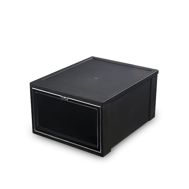 SoleMate Stackable Drop Lid Shoe Box - Black (Pack of 2) - 0