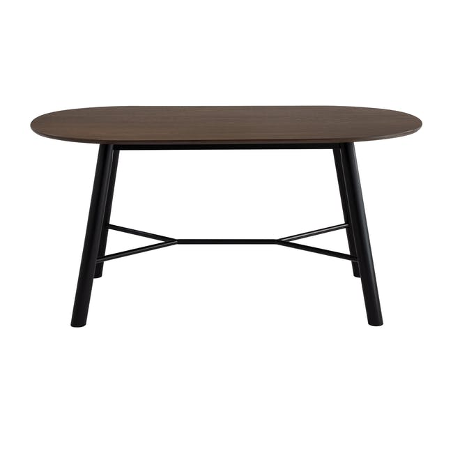 Telyn Oval Dining Table 1.6m with 4 Jake Dining Chairs in Oyster Grey and Carbon - 2