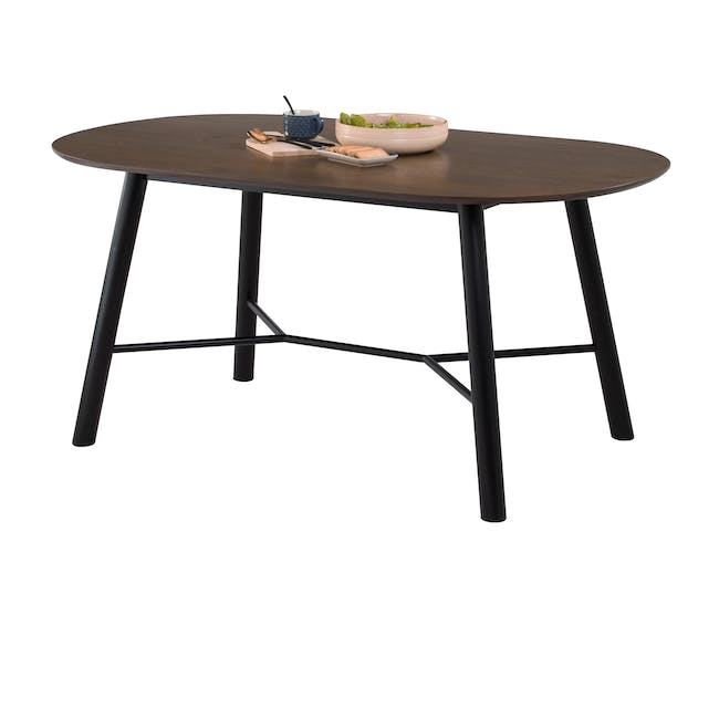 Telyn Oval Dining Table 1.6m with 4 Jake Dining Chairs in Oyster Grey and Carbon - 4