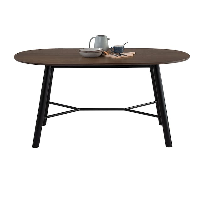 Telyn Oval Dining Table 1.6m with 4 Jake Dining Chairs in Oyster Grey and Carbon - 5