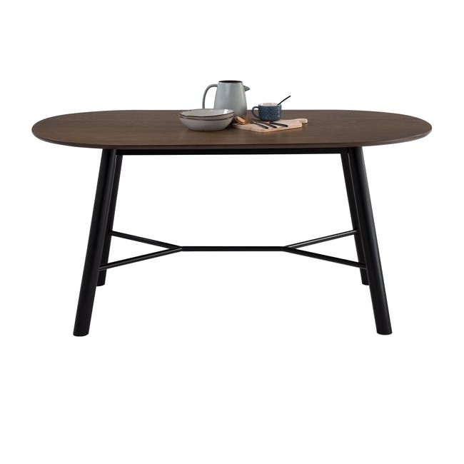 Telyn Oval Dining Table 1.6m with 4 Lennon Dining Chairs in Royal Blue and Pine Green Velvet - 5