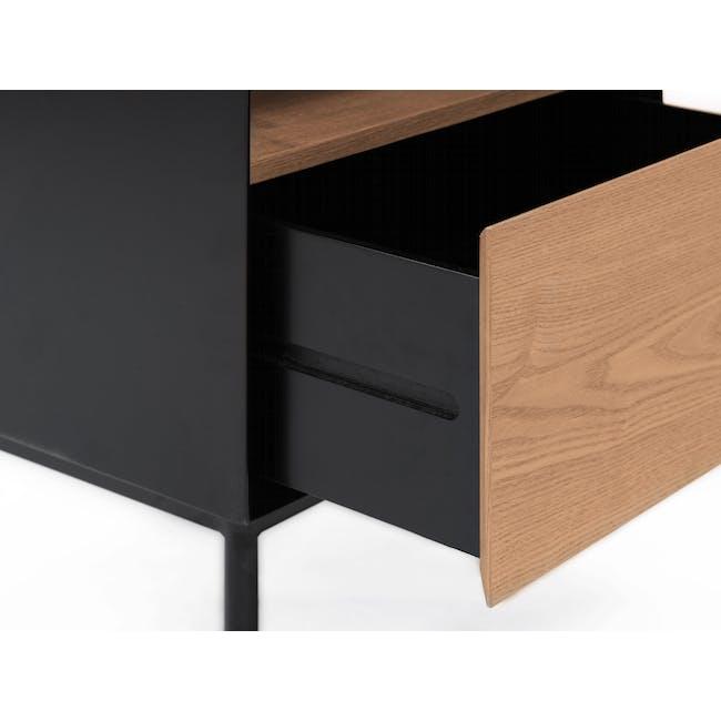 Lewis Bedside Table - Black, Oak - 6
