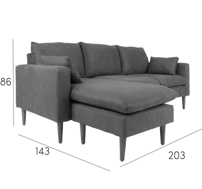 Alicia L Shape Sofa - Light Grey - Image 2