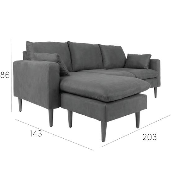 Alicia L Shape Sofa Dark Grey Apartment Sofas By Hipvan Hipvan
