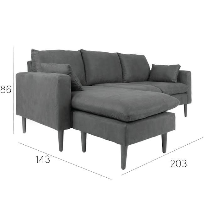 Alicia L-Shaped Sofa - Slate - 9