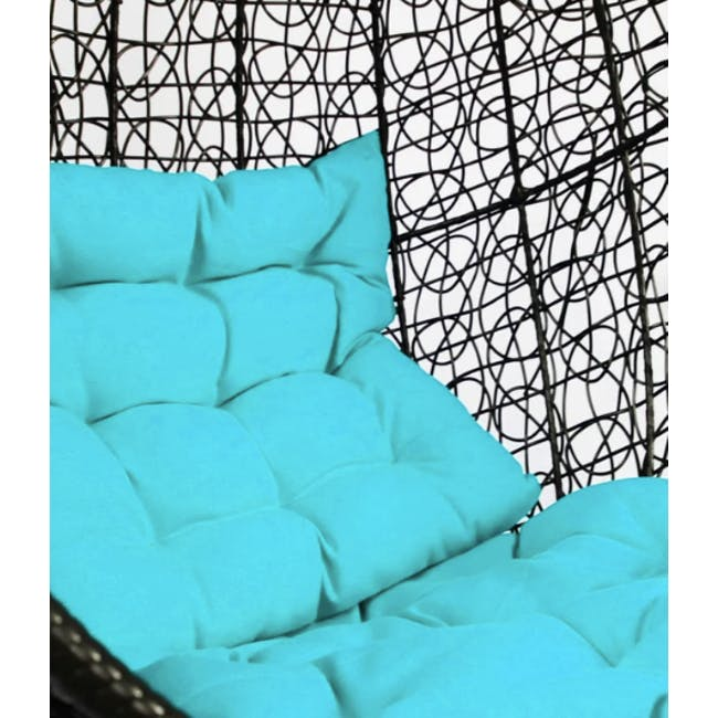 Black Cocoon Swing Chair - Blue Cushion - 3