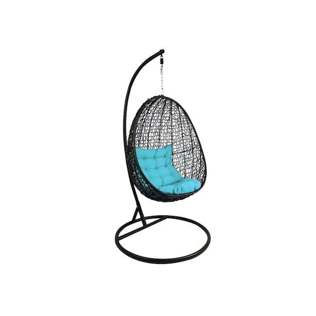 Black Cocoon Swing Chair - Blue Cushion - 0