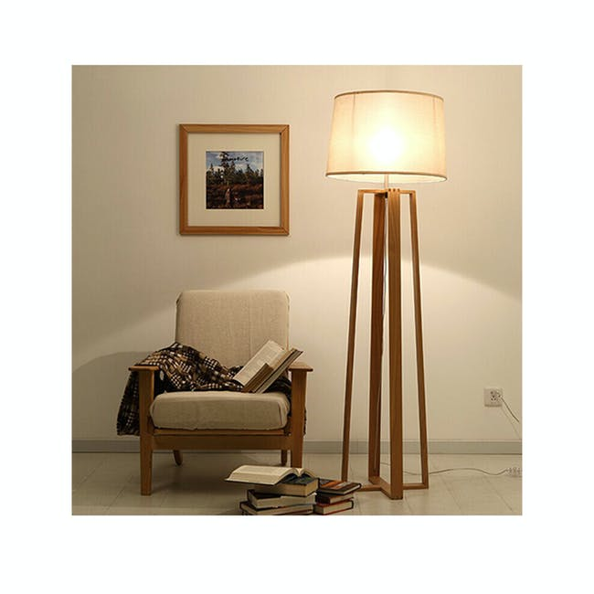 Amber Floor Lamp - Oak, White - 2