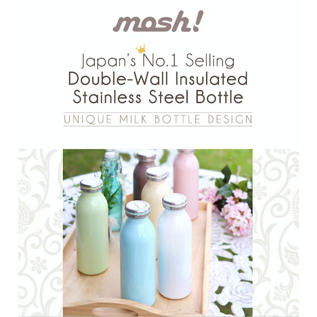 MOSH! Double-walled Stainless Steel Bottle 350ml - Pearl Pink - 3