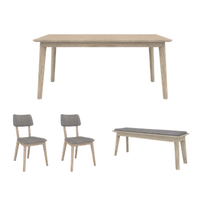 Leland Dining Table 1.6m with Leland Cushioned Bench 1.3m and 2 Leland Dining Chairs - Image 1