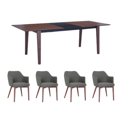Kiros Extendable Dining Table 1.8m with 4 Gitel Dining Chairs - Walnut, Black - Image 1