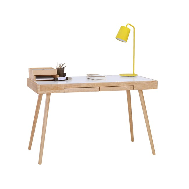 Reth Study Table - White, Natural - 5