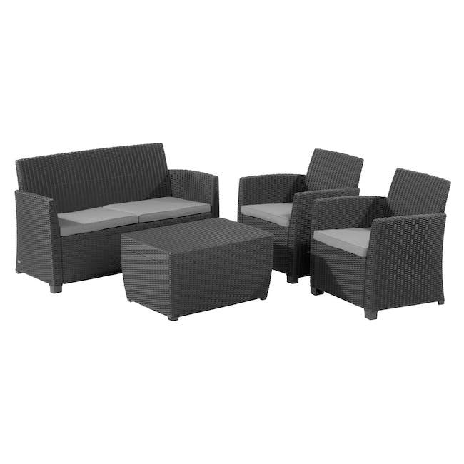 Corona Lounge Set with Storage Coffee Table - Graphite - 0