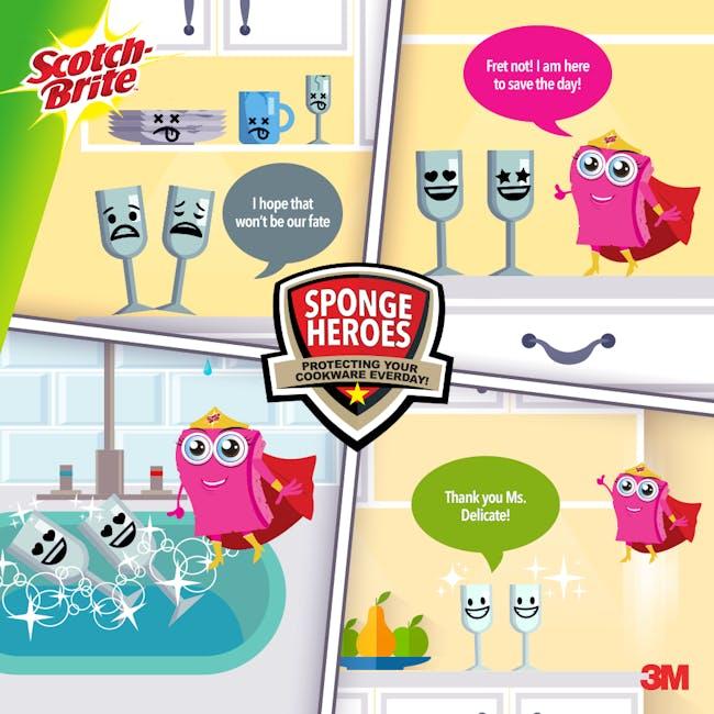 Scotch-Brite Light Duty Scrub-Sponge (Pack of 3) - 2