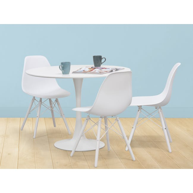Carmen Round Dining Table 1m with 4 DSW Chair - White - 1