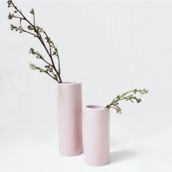 Nordic Matte Vase Small Straight Cylinder - Dusty Pink - 2