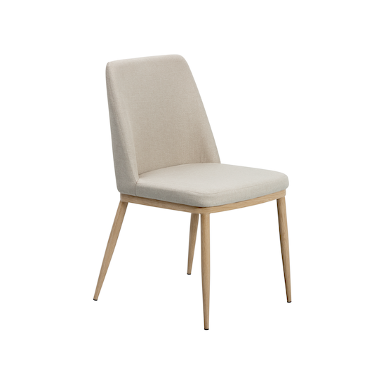 Glass and Metal - Kate Dining Chair - Oak, Beige