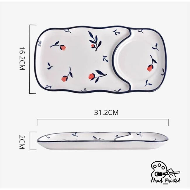 Table Matters Rose Sweet Hand Painted Rectangle Compartment Plate - 3