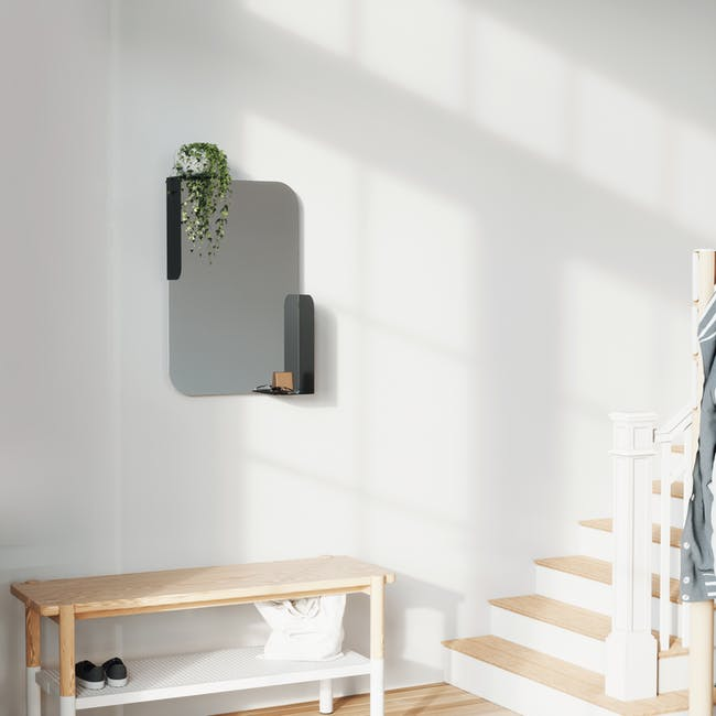 Alcove Wall Mirror with Shelf 76 x 50 cm - Black - 8