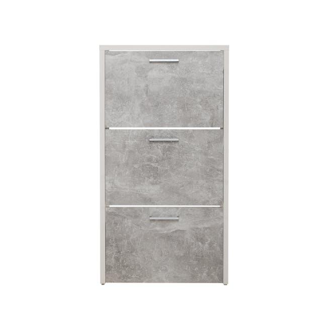 Frida 3-Door Shoe Cabinet - White, Concrete Laminate - 0