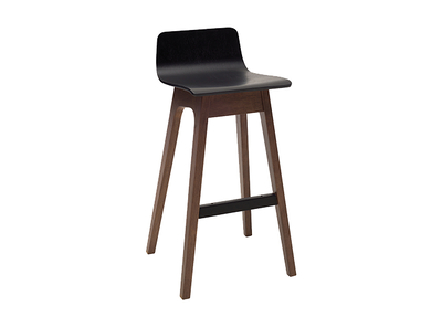 Ava Low Back Bar Chair - Black Ash Veneer, Walnut - Image 1