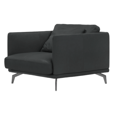 Como 1.5 Seater Sofa - Slate (Premium Cowhide), Down Feathers - Image 2