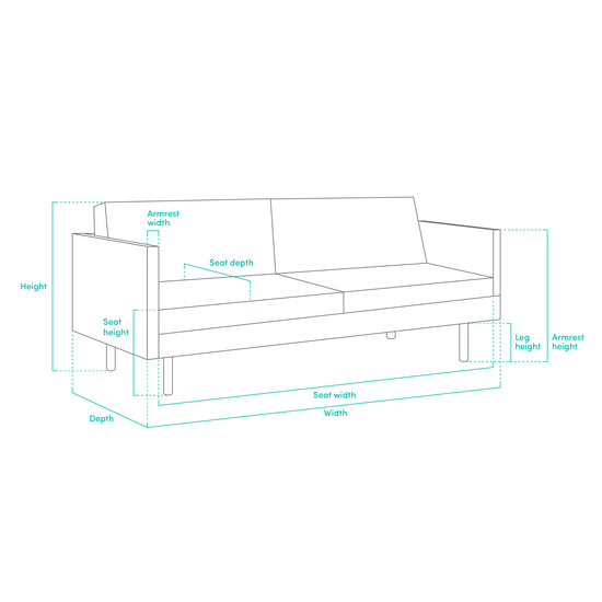Estelle - Arden 3 Seater Sofa - Slate