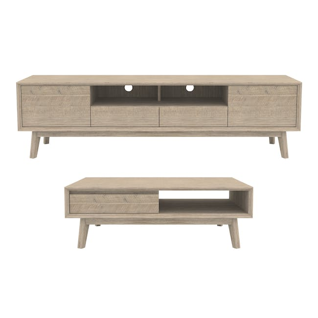 Leland TV Console 2m with Leland Twin Drawer Coffee Table - 0