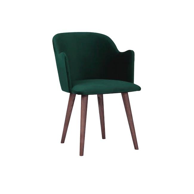 Anneli Dining Armchair - Walnut, Dark Green (Velvet) - 0