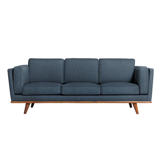 Carter 3 Seater Sofa in Space Blue with Daewood in Dark Grey - 1