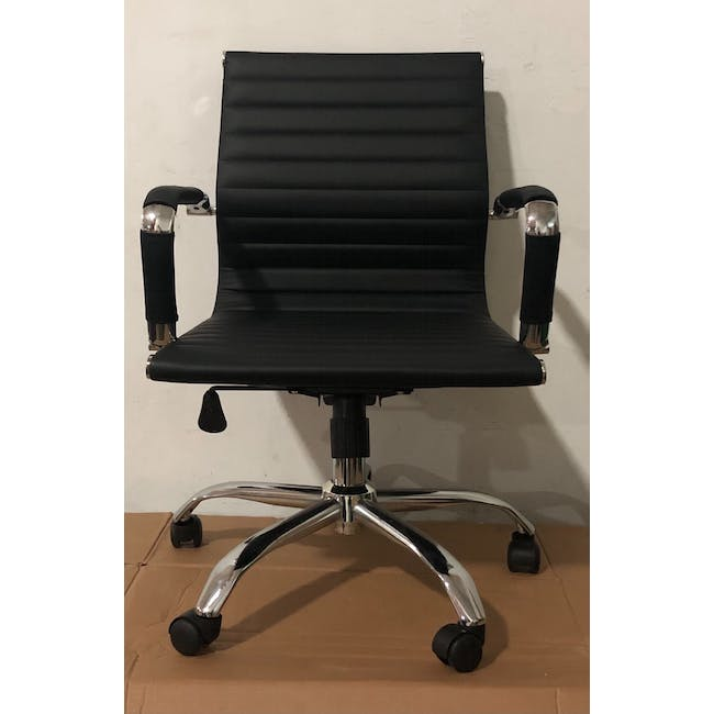 (As-is) Eames Mid Back Office Chair - Black (PU) - 12 - 1