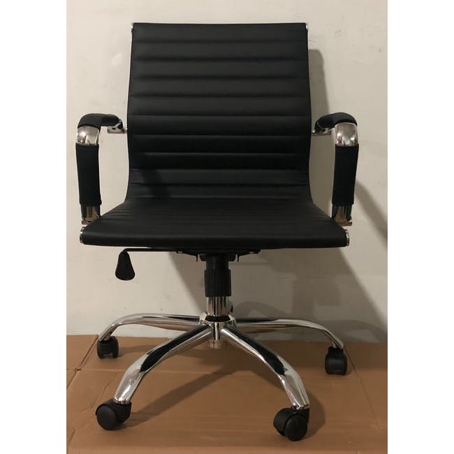 (As-is) Eames Mid Back Office Chair - Black (PU) - 12 - 2