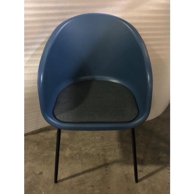 (As-is) Rayner Dining Armchair - Matt Black, Midnight Blue - 1 - 1